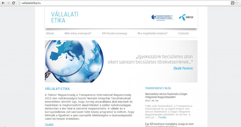 Weboldal tervezés és fejlesztés a Telenor és a Transparency International Magyarország részére
